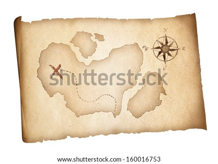Old treasure pirates map isolated. Adventure concept. - stock photo
