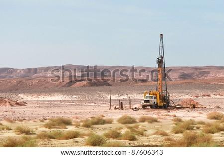 Old truck used for drilling in Sinai desert in Egypt - stock photo