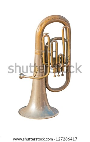 old trumpet, photo on the white background - stock photo
