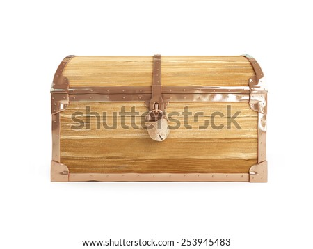 old trunk close on a white background  - stock photo