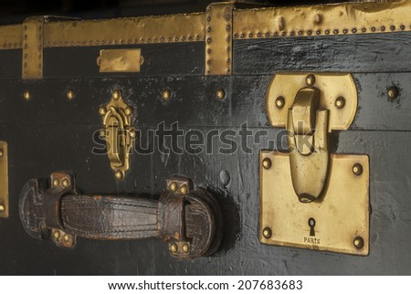 Old trunk lock  - stock photo