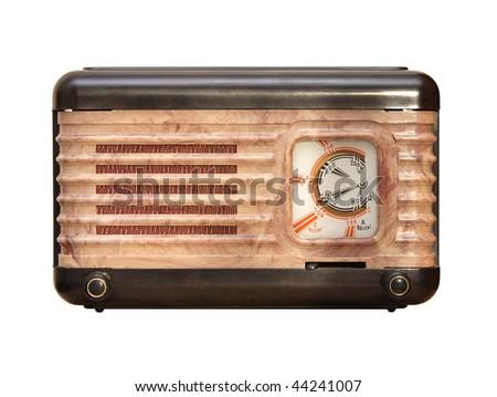 old tube radio receiver - stock photo