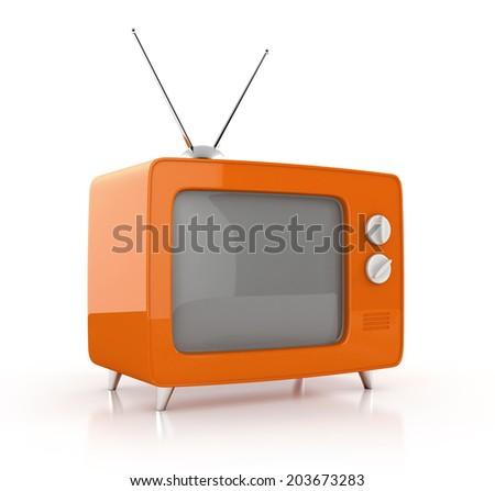 old tv. 3d illustration isolated on white background - stock photo