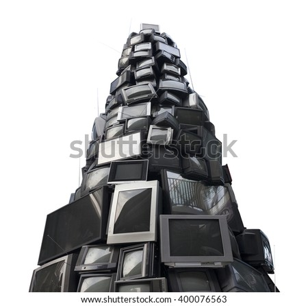 old TV garbage, rubbish, electronic junk, Recycling Electronics, Pile of broken television stacked for disposal. logos, brand names have removed. Great for background, recycle and environmental theme. - stock photo