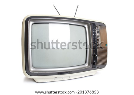 Old tv  isolated with clipping path. - stock photo