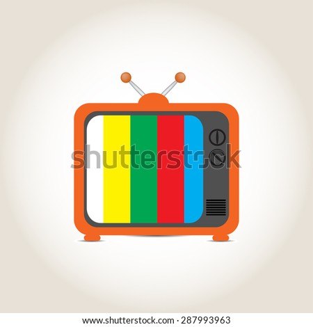 Old TV on a gray background - stock photo