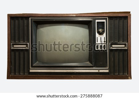 old TV on the isolated white background - stock photo