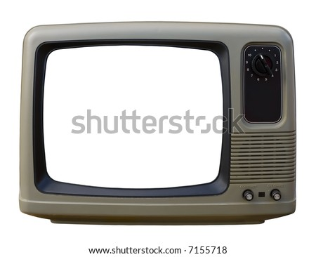 Old TV over a white background - stock photo