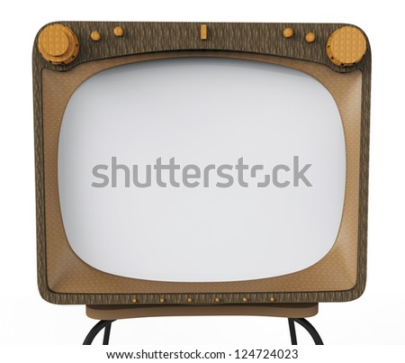 old tv white screen for advertising - stock photo