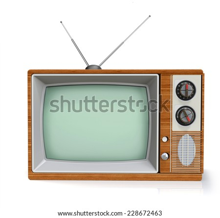 old tv with antenna front view isolated on white background, 3D render - stock photo