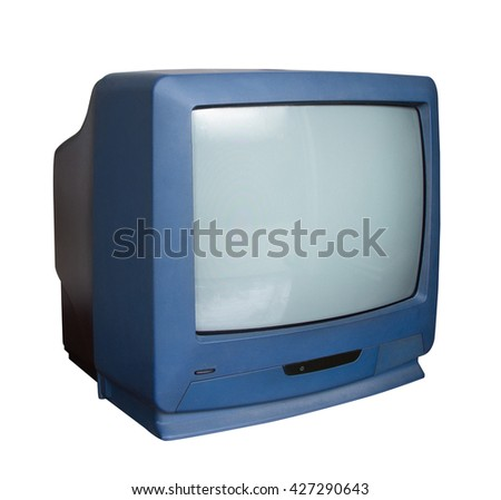 Old TV with clipping path on white background - stock photo
