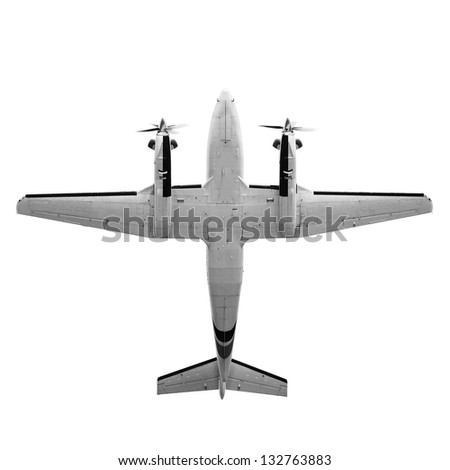 Old twin prop gray cargo plane isolated on white background. Bottom view - stock photo
