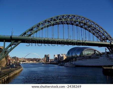 Old Tyne bridge, modern Sage music center and Millennium bridge --Quayside of Newcastle England - stock photo