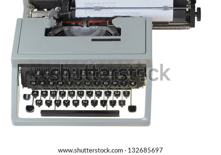 old type writer isolated over white background - stock photo