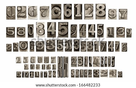 old typeset numbers - stock photo