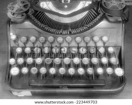 Old typewriter black and white - stock photo