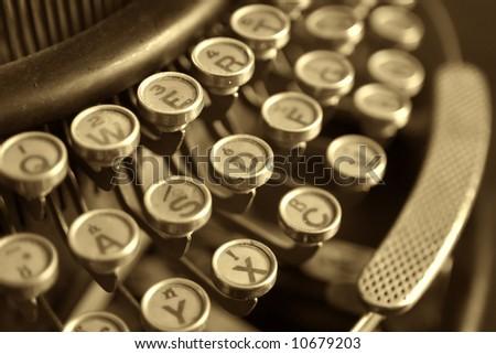 old typewriter, close-up - stock photo