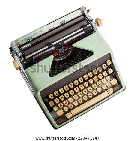 old typewriter on isolated white - stock photo