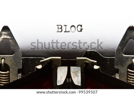 old typewriter with text blog - stock photo