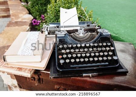 old typing machine - stock photo