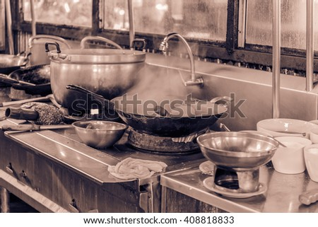 old untidy Kitchenware in the kitchen - stock photo