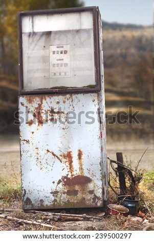 Old, unused gas pump, industrial shot.  - stock photo