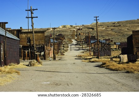 old usa western gold ghost mining town - stock photo