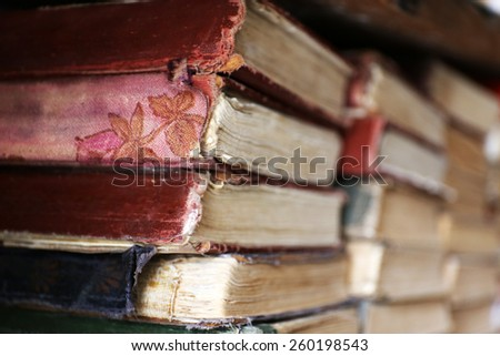 Old used books in library, closeup - stock photo