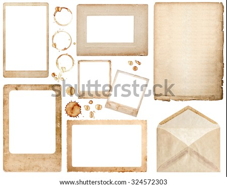 Old used paper, envelope, photo frames and coffee stains isolated on white background. Scrapbook elements - stock photo