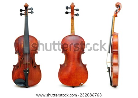 Old used violin view for passport  - stock photo