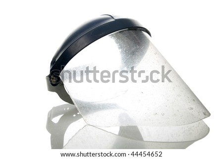 old used welder or grinders face shield, isolated on white - stock photo