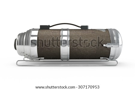 Old vacuum cleaner isolated on white background - stock photo