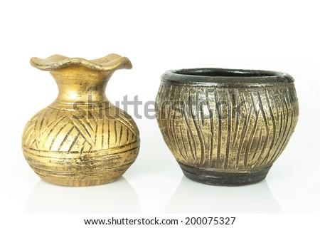Old vase on white background - stock photo
