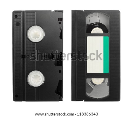 Old VCR video tape with empty label isolated on white background - stock photo