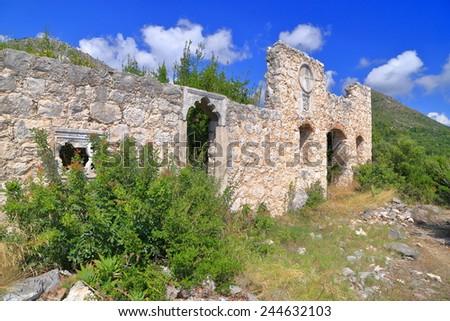 Old Venetian building in ruins from the Dalmatian coast, Croatia - stock photo