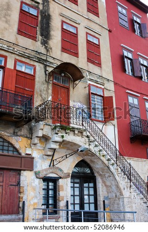 Old venetian house in the harbour at Chania, Crete, Greece - stock photo
