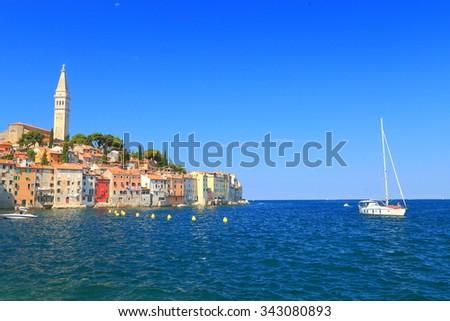 Old Venetian town surrounded by the Adriatic sea, Rovinj, Croatia - stock photo