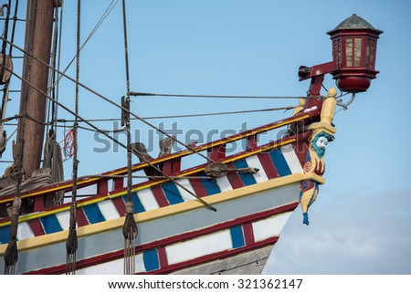 Old vessel sail ship detail close up - stock photo