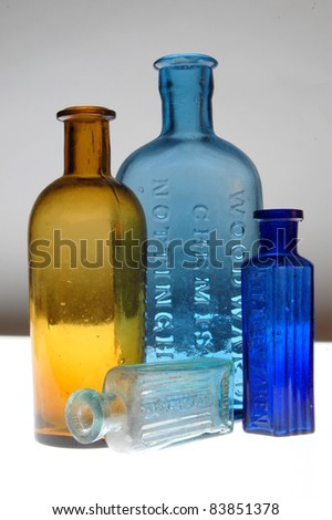 Old Victorian Bottles. - stock photo