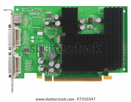 Old  video card with passive cooling. Interface PCI Express. Object is isolated on white background without shadows - stock photo