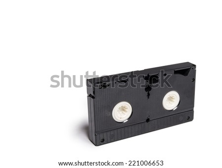 Old video tape cassette isolated on white - stock photo