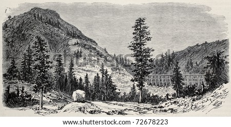 Old view of Black Butte, California, along Union Pacific Railroad track. Original, created by Lancelot, was published on L'Illustration, Journal Universel, Paris, 1868 - stock photo