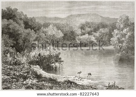 Old view of the Jordan river. Created by Daubigny after photo of unknown author, published on Le Tour du Monde, Paris, 1860 - stock photo