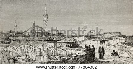 Old view of Usak (Oushak), antique city in Aegean region of Turkey. Created by Gaiaud, published on Le Tour du Monde, Paris, 1864 - stock photo