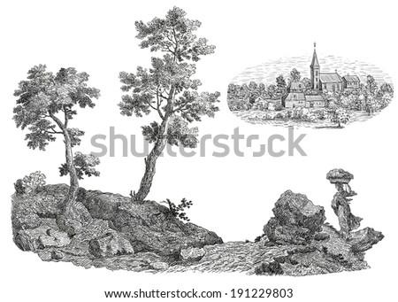Old village illustration - stock photo