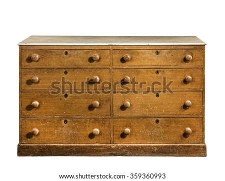 old vintage antique cabinet dresser chest of drawers pine wood hand painted well used isolated on white with clipping path. - stock photo