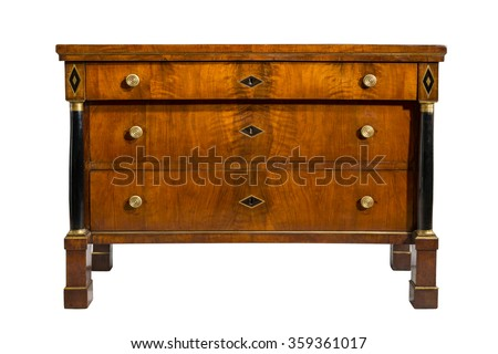 old vintage antique chest of drawers, bureau or tallboy mahogany wood Regency period isolated on white with clipping path. - stock photo
