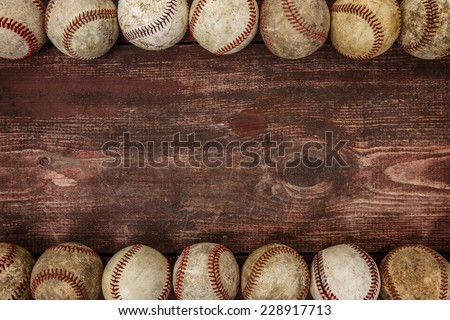 Old Vintage Baseball Background. Focus in center - stock photo