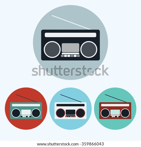 Old Vintage Boombox icon set. Colorful Tape Recorder round icons isolated on white. Digital background raster illustration - stock photo