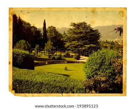 Old vintage card with beautiful Livadia Park isolated on white background. Crimea - stock photo